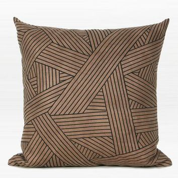"""Brown Faux Leather with Black Abstract Stripe Embroidered Pillow 20""""X20"""""""