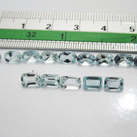 6x4mm Aquamarine Emerald and Oval cut 15 Gemstones 8.24 Light blue March Birthstone
