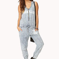 Acid Wash Hooded Jumpsuit