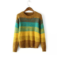 Sea Pullover Winter Women's Fashion Gradient Stripes Sweater [8422525249]