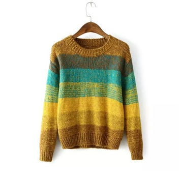 Sea Pullover Winter Women's Fashion Gradient Stripes Sweater [9609408975]