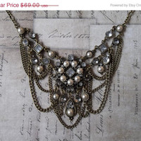 ON SALE Belle Époque Oxidized Gold Pearl Cabochon And Rhinestone Bib Necklace With Chain Swags, Game Of Thrones Inspired