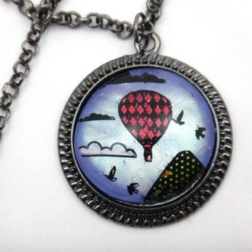 Hand Painted Hot Air Balloon Necklace