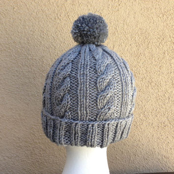 Cable Knit Pom Pom Hat in Gray for Women/Men, Unisex Slouchy Knit Beanie Hat **Ready To Ship**