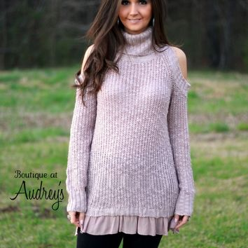 Easel Blush Cold-Shoulder Sweater with Ruffle Hem