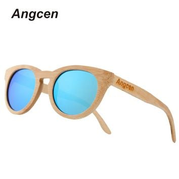 Angcen Bamboo Frame Sunglasses with Polarized Mirror Lenses