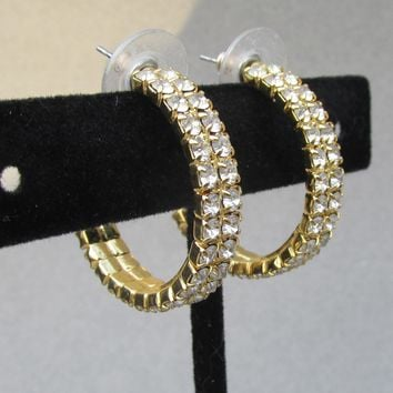 Signed Nolan Miller Vintage Double Row Crystal Rhinestone Gold Tone Hoop Earrings
