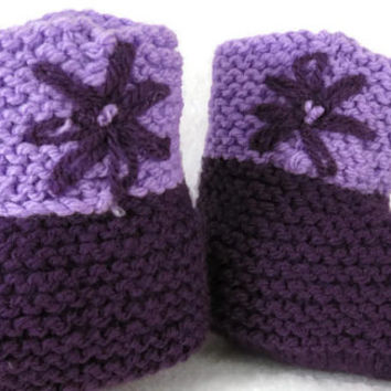 Purple Flower Baby Knitted Booties, Baby Shoes, Newborn Knitted Booties, Baby Booties, Baby Props Hi Top Booties, Handmade Australia
