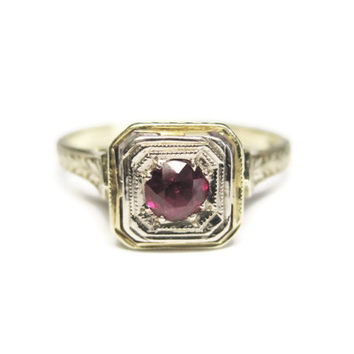 Vintage 14K Ruby Art Deco Engagement Ring White and Yellow Gold Size 6