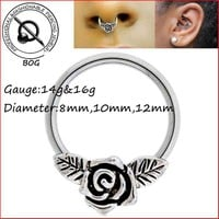 BOG-1 Piece Rose Flower Captive Bead Ring For Septum Ear Cartilage Nippple Helix Piercing Jewelry 14g 16g