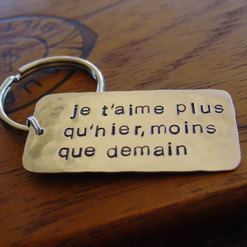 Je T'aime Keychain Hand Stamped French Love Key by PearlieGirl
