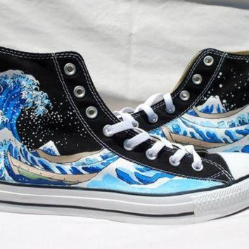 ONETOW Hand Painted Converse Shoes - The Great Wave Off Kanagawa -Black