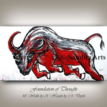 Large abstract bull painting, original texture art, animal painting, Red, black bull home decor modern wall art on canvas fine art gallery