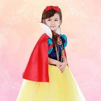 S-4XL halloween 100-160cm dress+headwear kid child  snow white princess cosplay carnival party costume  girl role-playing set