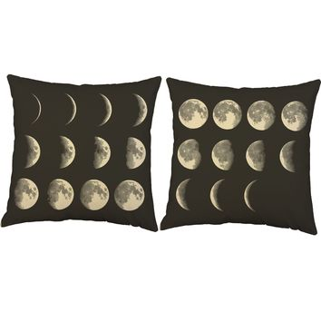 Moon Phases Space Throw Pillows