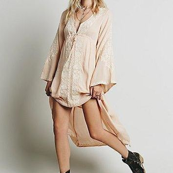 free people fashion ethnic embroidery deep v neck loose long sleeve irregular maxi dress