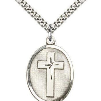 ".925 Sterling Silver Cross Necklace For Men On 24"" Chain - 30 Day Money Back ... 617759859195"