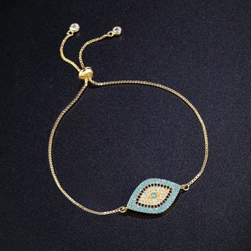 New Simple Designer Turkish Gold Evil Eye Bracelet Pave CZ Blue Eye Gold Chain Bracelet Fashion Charm Bracelets for Women brtk53