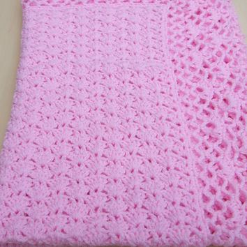 Hand crochet baby blanket or afghan in iced pink