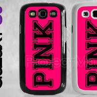 Samsung Galaxy S3 SIII Hot Pink Logo Monogram Text Word Case Cover Protector