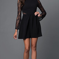 Little Black Long Sleeve Lace Detailed Dress
