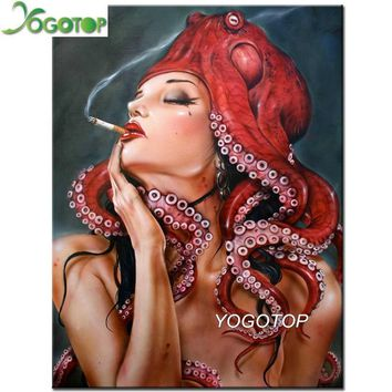 5D Diamond Painting Octopus Woman Smoking Kit