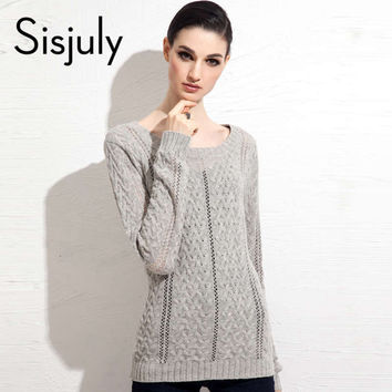 Sisjuly women sweater autumn winter o-neck women knitting casual wool solid long sleeve slim warm winter silk women sweater