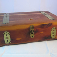 Antique Dresser Cedar Chest Keepsake Trinket Treasure Box with Tiny Padlock and Key