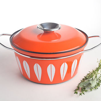 Cathrineholm Lotus Orange vintage enamelware casserole dutch oven