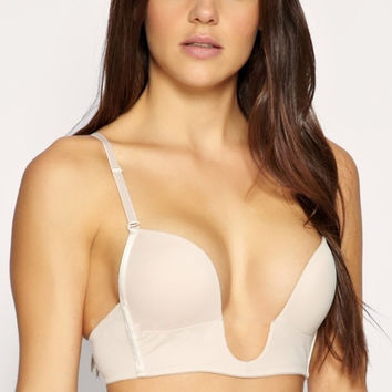 Ultra Deep U Plunge Push up V Bra 3 Way Straps Convertible Maximum Cleavage Top