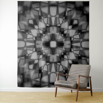 Dark kaleidoscope pattern tapestry