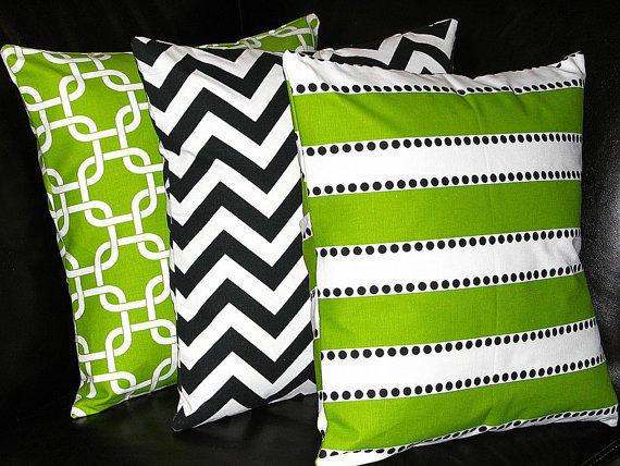 Black White And Green Throw Pillows : Pillows Decorative Pillows Lime Green from LittlePeepsHomeDecor