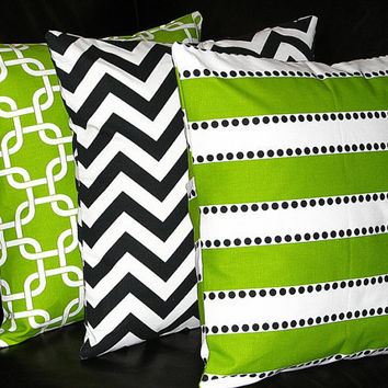 "Pillows Decorative Pillows Lime Green TRIO chain link, chevron, lulu 18x18 inch Throw Pillow Covers 18"" Chartreuse, Black, White"