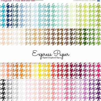 SALE 64 houndstooth pattern digital papers- 12x12 and 8.5x11 included- Digital Paper Rainbow includes dark, bright, neutral and pastel color