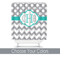 SHOWER CURTAIN Custom MONOGRAM Personalized Bathroom Decor Chevron Polka Dot Turquoise Gray Colors Beach Towel Plush Bath Mat Made in Usa