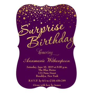Glitter Sparkle Surprise Birthday Invitation