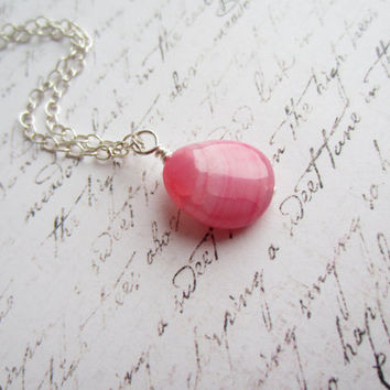 Pink Necklace, Fuchsia Necklace, Agate Necklace, Swedish Jewelry Design, Made in Sweden, Scandinavian Jewelry Design