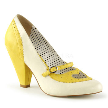 Poppy Heart Mary Jane Cone Heel Pump Yellow