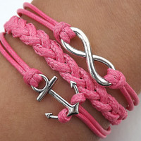 Infinity LOVE bracelet--silver 8 infinity wish and anchor braided bracelet-pink wax rope Leather braided bracelet
