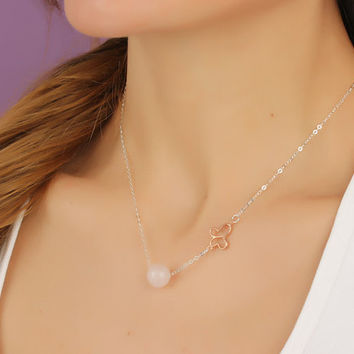 "Rose quartz necklace, butterfly necklace, bridesmaid necklace, rose quartz jewelry, Birthstone, gemstone necklace, butterfly jewelry, ""Lips"""