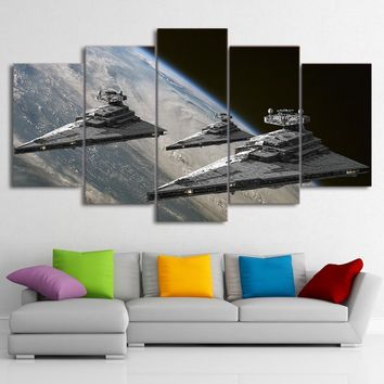 Star Wars Force Episode 1 2 3 4 5 Wall Art Canvas HD Printed Frame Painting Home Decor Liveing Room 5 Pieces Movie  Pictures Space  Destroyer Poster AT_72_6