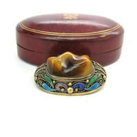 Tigers Eye Gemstone Brooch Chinese Export Natural Quartz Blue Green Purple Enamel Sterling Silver Gold Vermeil Vintage Asian Art Deco