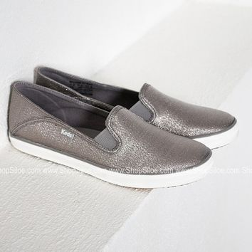 Gunmetal Metallic Slip On Keds