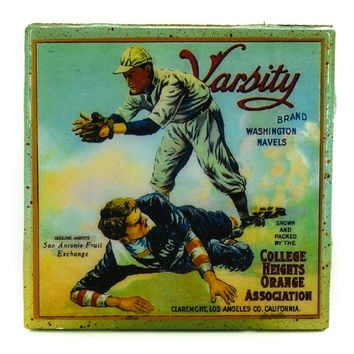 Varsity Brand - Vintage Citrus Crate Label - Handmade Recycled Tile Coaster