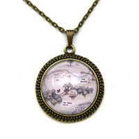 Winnie the Pooh, Hundred Acre Woods, Owl's House Map Necklace