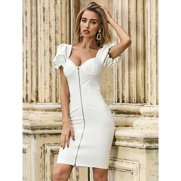 Sesidy Sweetheart Neck Puff Sleeve Dress