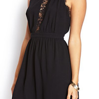 Black Halter Mini Dress with Lace Detail