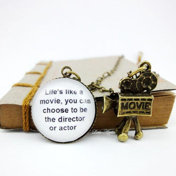 Life motivational quote necklace cute 3D, old movie camera, 20mm glass, brass jewelry, studio, vintage filmmaker, antique bronze