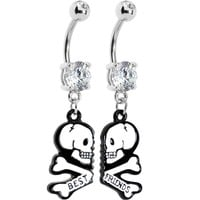 Clear Gem Two White Skulls Best Friends Dangle Belly Ring Set