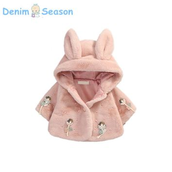 DenimSeason 2017 Winter Baby Clothing Baby Coat Casaco Infantil Poncho Baby Girl Clothes Ropa Bebe Cashmere Fur Jaqueta Girls
